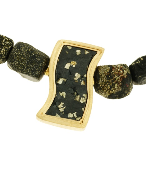 460138,  Vario clasp Slate with Pyrite, alloy 750