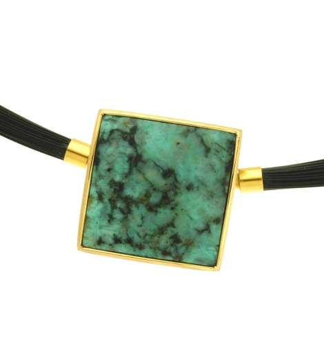 460192,  Vario clasp with African Turquois, alloy 750